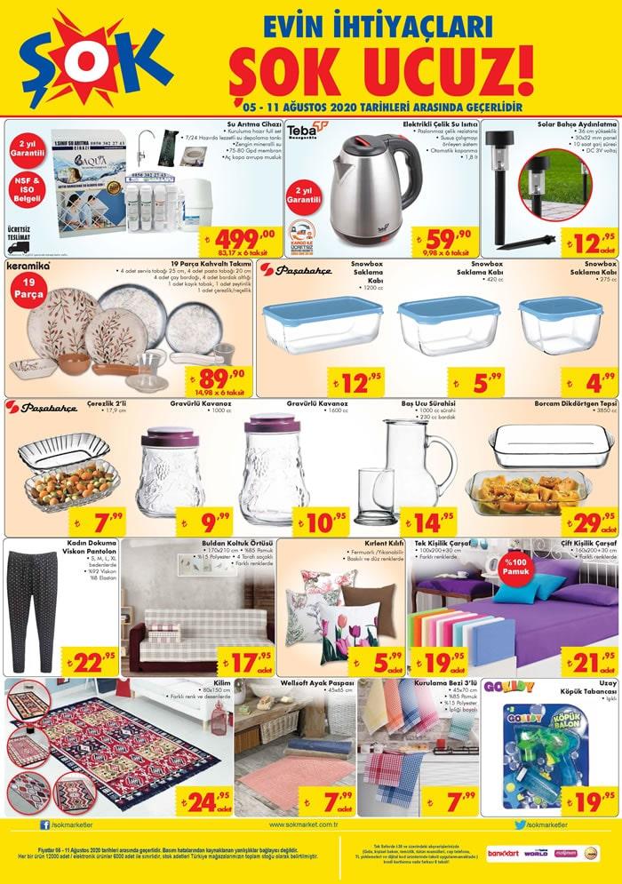 Şok market 5 Ağustos indirim broşürü aktüel kataloğu yayımlandı..! Su arıtma cihazı, elektrikli su ısıtıcısı ve daha fazlası