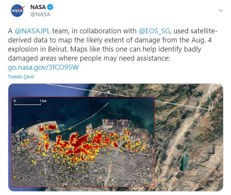 NASA, Beyrut Patlamasına Dair Şok Kareler Paylaştı
