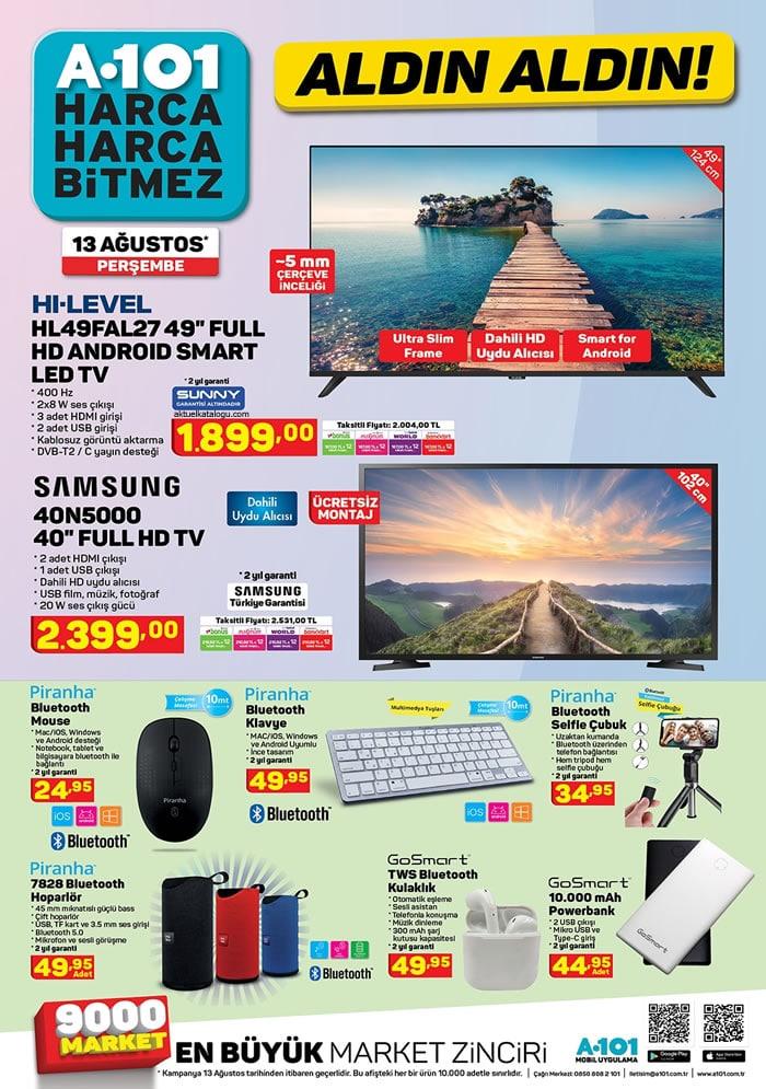 A 101 Market 13 – 20 Ağustos indirim broşürü haftalık aktüel katalog..! Samsung Full HD tv, 4 kapılı mutfak dolabı, Flavel kahve makinası ve çok daha fazlası..!