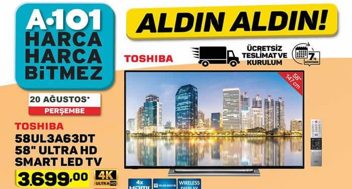 A 101 Market 20 – 27 Ağustos indirim broşürü haftalık aktüel katalog..! Toshiba ultra HD tv, Samsung powebank, Seg Derin Dondurucu ve çok daha fazlası..!