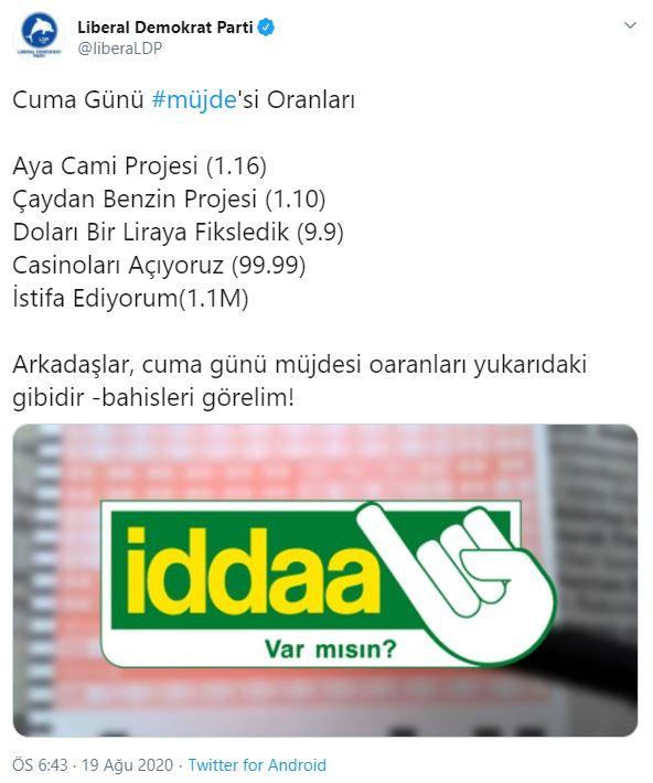 """Son dakika: Erdoğan """"müjde"""" vereceğiz dedi, o parti oranları Twitter'dan açıkladı..!"""