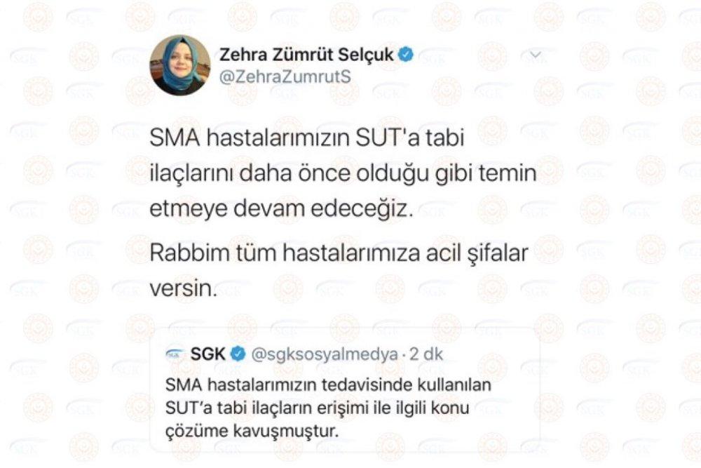SGK ve Bakan Zehra Zümrüt Selçuk'tan SMA hastalarına müjdeyi verdi..!