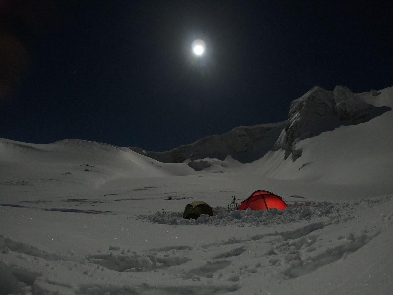 Bursalı Dağcılardan Uludağ'da Dolunay Altında Kamp
